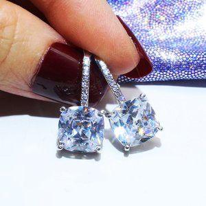 NEW 18K White Gold Cushion Diamond Drop Earrings